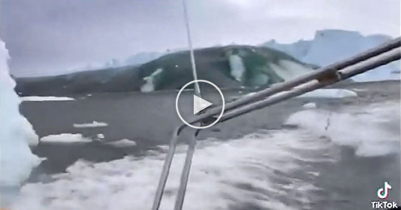 A Glacier Near Greenland Calved and Created an Insane Wave that Just Missed these Guys