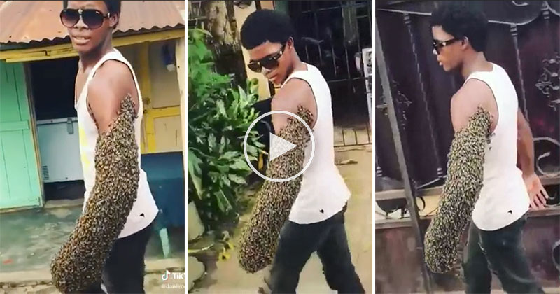 Guy Casually Walks Down the Street with Arm Covered in Bees