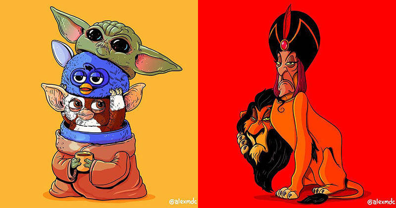 icons unmasked by alex solis alexmdc 16 Artist Unmasks Famous Characters in Hilarious Series of Illustrations