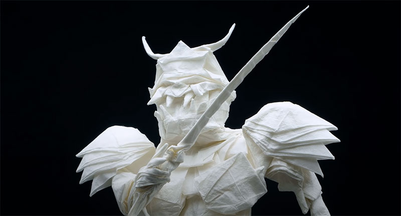 origami samurai by juho konkkola 7 This Origami Samurai was Folded from a Single Sheet of 95 x 95 cm Wenzhou Rice Paper