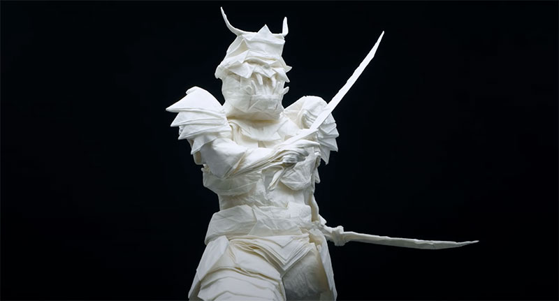 origami samurai by juho konkkola 8 This Origami Samurai was Folded from a Single Sheet of 95 x 95 cm Wenzhou Rice Paper