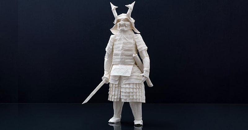 This Origami Samurai was Folded from a Single Sheet of 95 x 95 cm Wenzhou Rice Paper