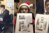 Talented Teen Draws 7 Levels of Recursive Self Portraits