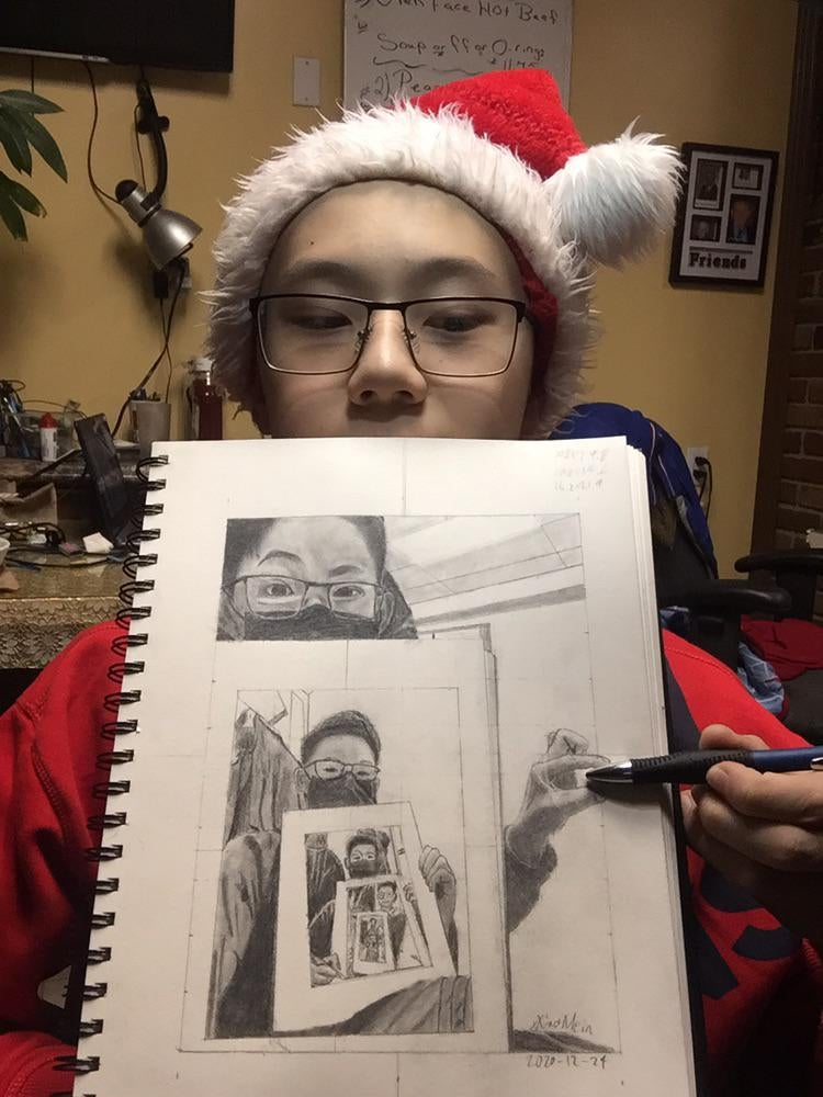 recursive self portraits by xiao mein reddit 3 Talented Teen Draws 7 Levels of Recursive Self Portraits