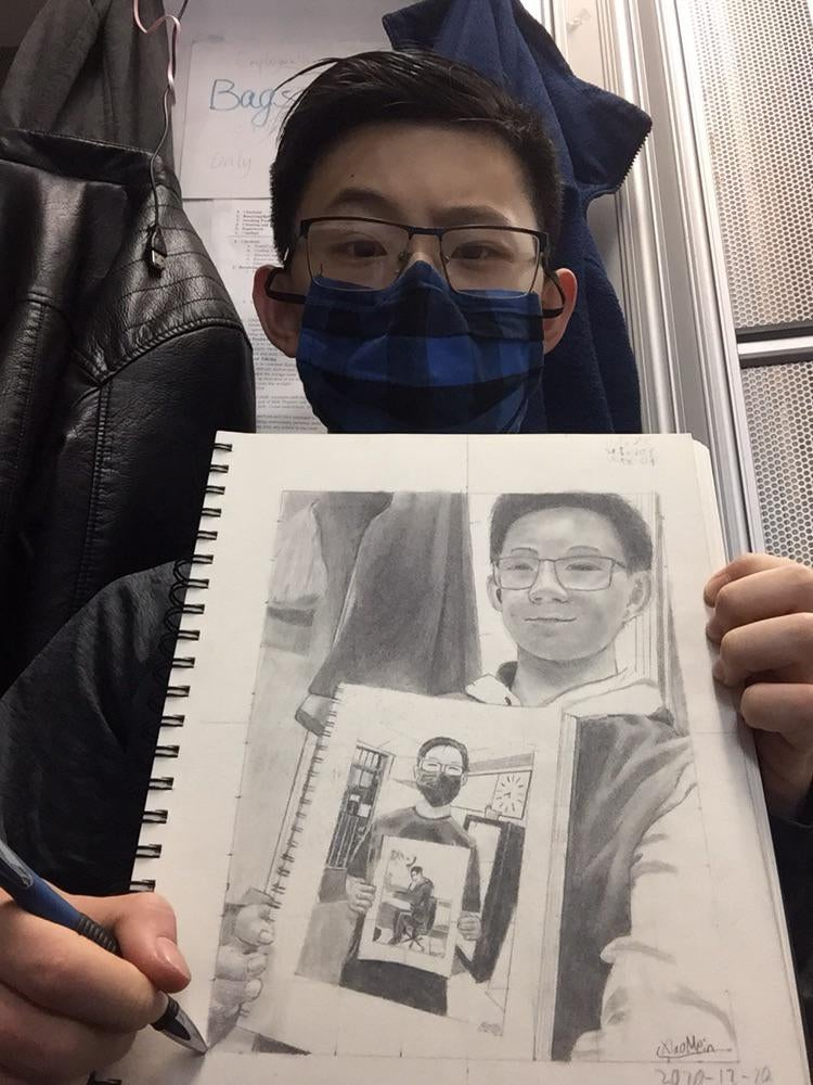 recursive self portraits by xiao mein reddit 6 Talented Teen Draws 7 Levels of Recursive Self Portraits