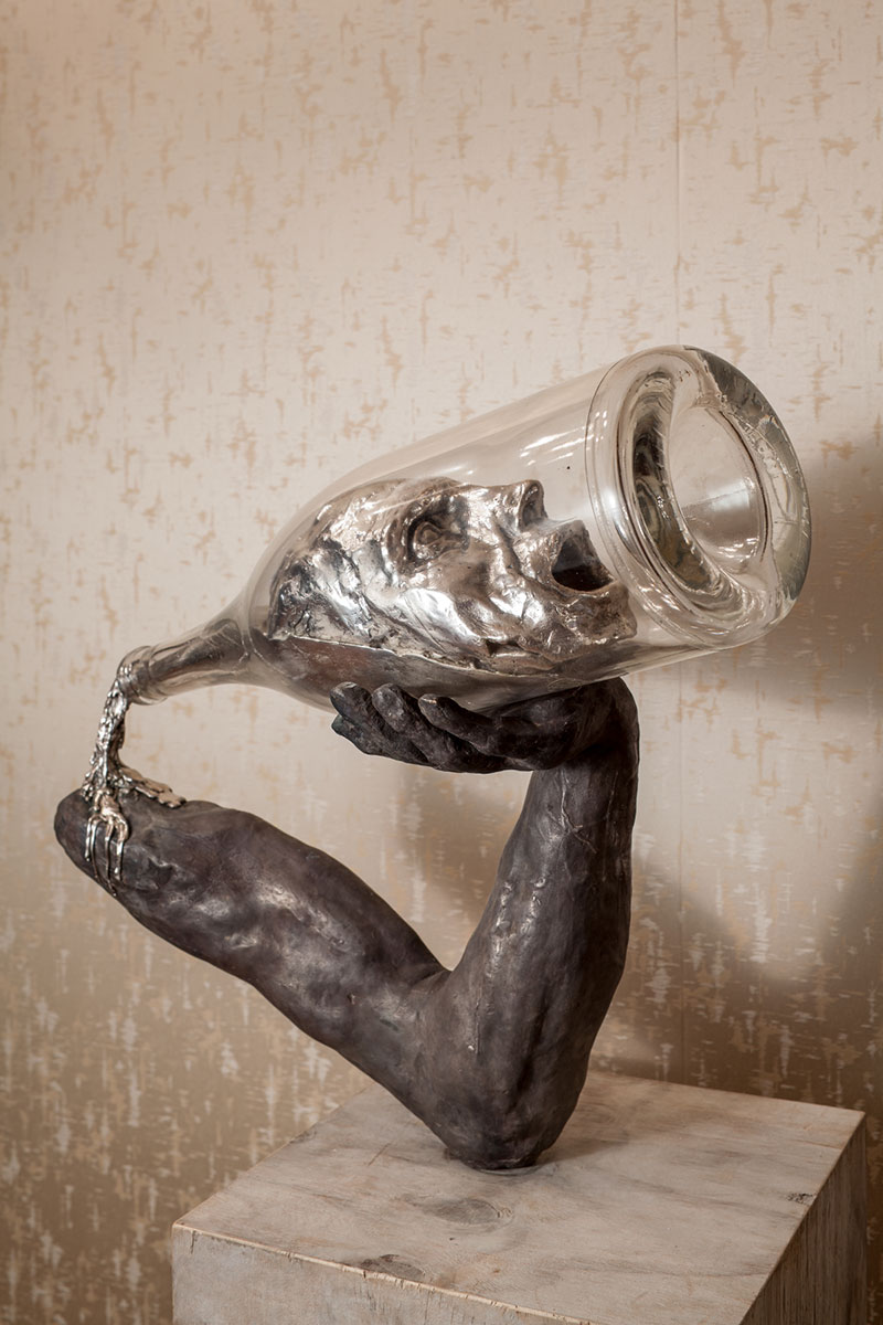 thomas lerooy you were on my mind 2014 sculpture 2 First the man takes the drink, then the drink takes the man.