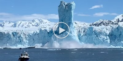Giant Ice Pillar Rises 200 ft Above Water After Huge Glacier Calving Event in Alaska