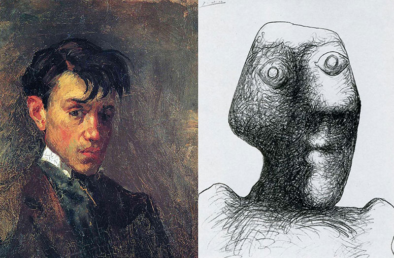 first and last self portrait of picasso The First (1896) and Last (1972) Self Portrait of Pablo Picasso