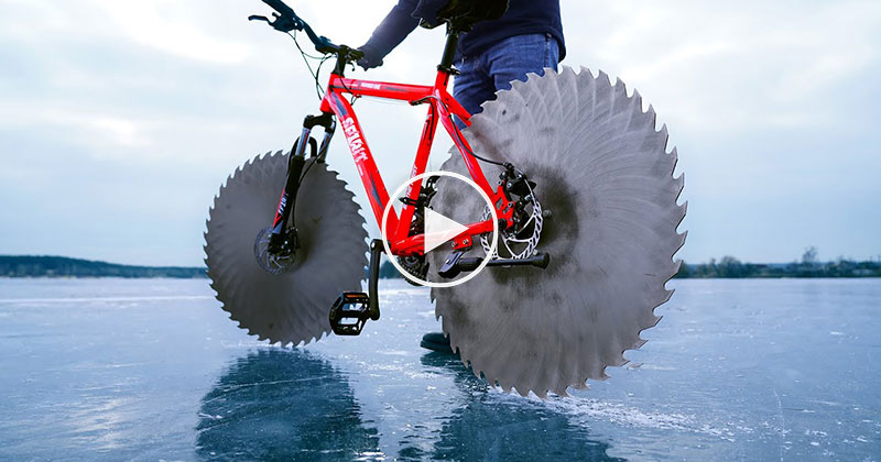 Guy Puts Giant Steel Saw Blades on His Bike and It Works Shockingly Well