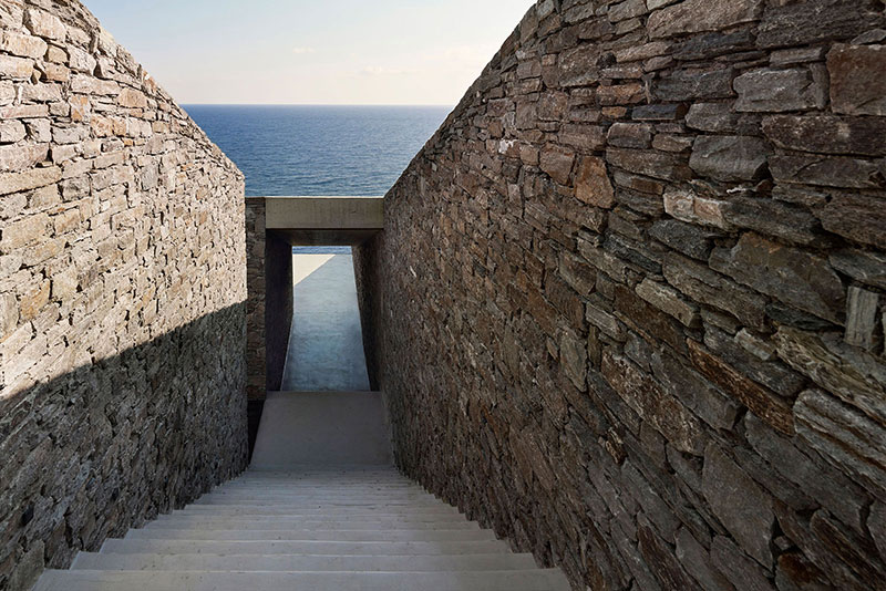 house built into cliff n caved by mold architects 25 Check Out this Ambitious House Built Into a Cliffside in Greece