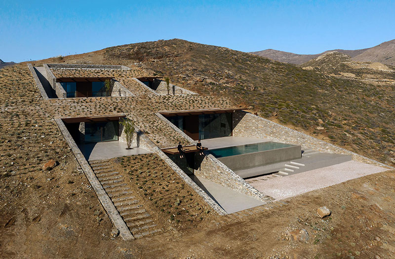 house built into cliff n caved by mold architects 4 Check Out this Ambitious House Built Into a Cliffside in Greece