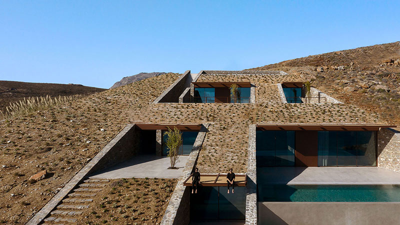 house built into cliff n caved by mold architects 5 Check Out this Ambitious House Built Into a Cliffside in Greece