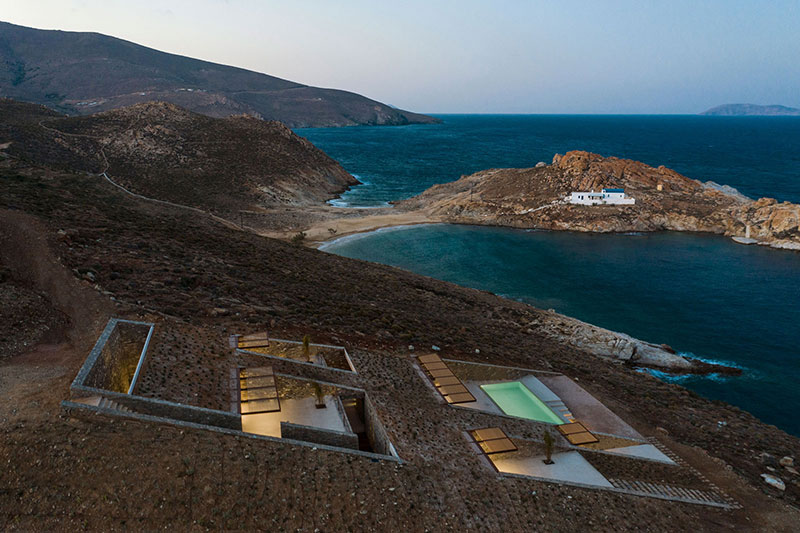 house built into cliff n caved by mold architects 7 Check Out this Ambitious House Built Into a Cliffside in Greece