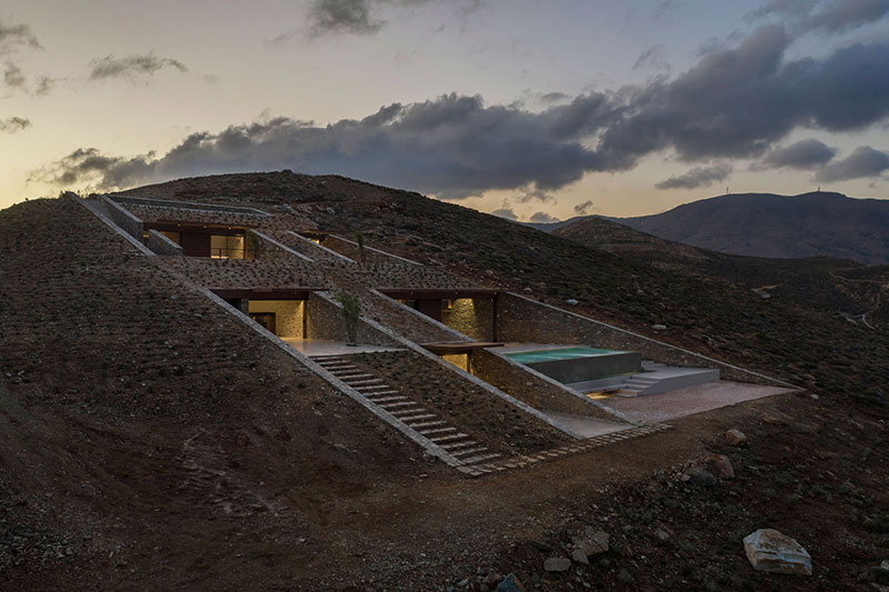 house built into cliff n caved by mold architects 9 Check Out this Ambitious House Built Into a Cliffside in Greece
