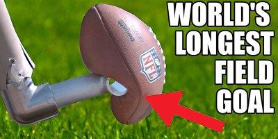 World's Longest Field Goal – Robot vs NFL Kicker