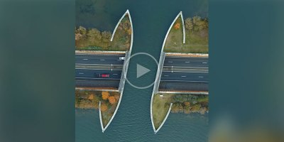This Aerial View of the Veluwemeer Aqueduct in the Netherlands is Surreal