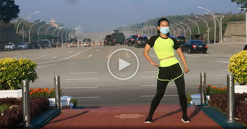 Woman Filming Aerobics Class Unknowingly Captures the Myanmar Military Coup