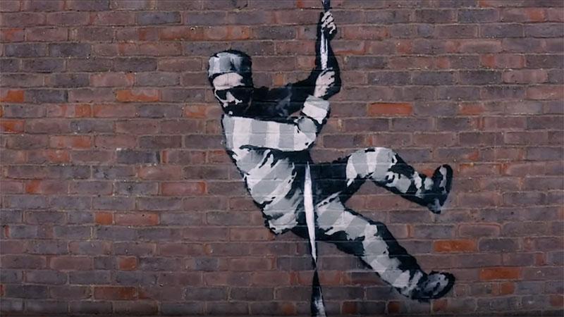 banksy bob ross prison escape street art oscar wilde reading uk 2 Banksy Channels His Inner Bob Ross in Oscar Wilde Prison Escape Artwork