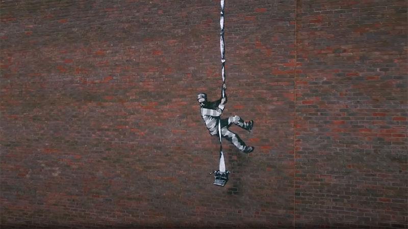 banksy bob ross prison escape street art oscar wilde reading uk 3 Banksy Channels His Inner Bob Ross in Oscar Wilde Prison Escape Artwork