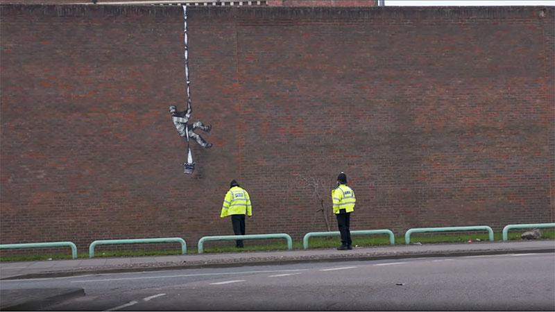 banksy bob ross prison escape street art oscar wilde reading uk 6 Banksy Channels His Inner Bob Ross in Oscar Wilde Prison Escape Artwork