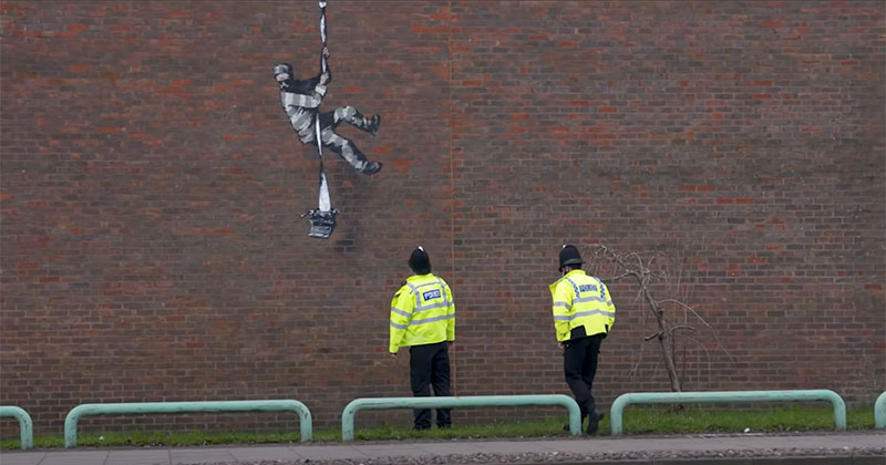 Banksy Channels His Inner Bob Ross in Oscar Wilde Prison Escape Artwork