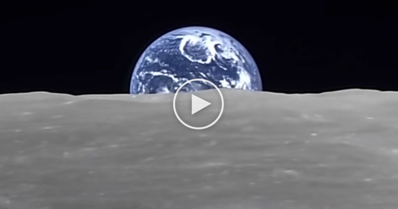 In 2008, a Japanese Orbiter Captured this 'Earth-Rise' from the Far Side of the Moon