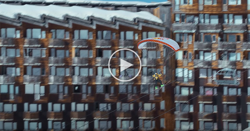 Yes, Skiing with a Parachute Through a Deserted Alpine Resort is as Crazy as it Sounds