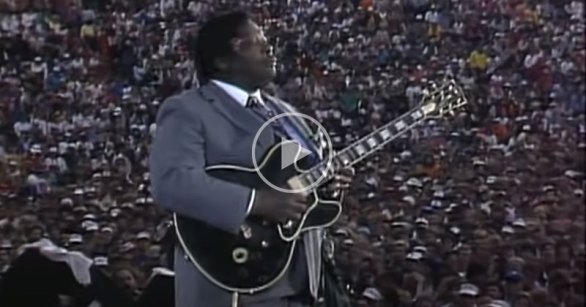 B.B. King Casually Restrings Lucille Mid Performance at Farm Aid 1985