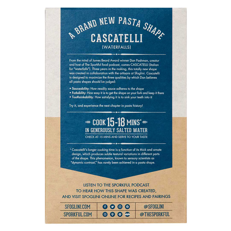 new pasta shape cascatelli by dan pashman sfoglini 1 Someone Invented a New Pasta Shape with a Hilarious Amount of Food Science Behind It