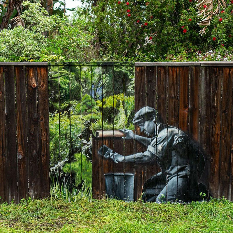 street art fence by hijack 2 Painting Landscapes