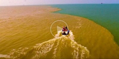 During Flood Season, the Yellow River Surges Into the Bohai Sea and It Looks Surreal