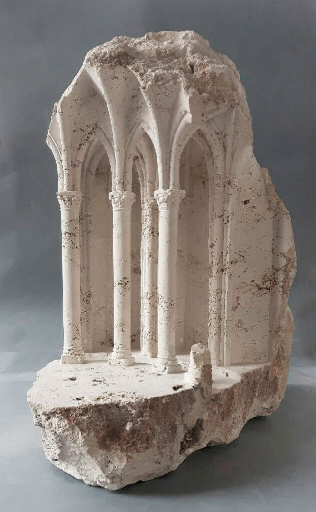 mini classical architecture carved into raw chunks of marble limestone matthew simmonds 1 Small Scale Classical Architecture Carved Into Chunks of Raw Marble and Limestone