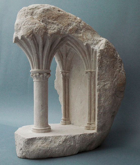 mini classical architecture carved into raw chunks of marble limestone matthew simmonds 14 Small Scale Classical Architecture Carved Into Chunks of Raw Marble and Limestone