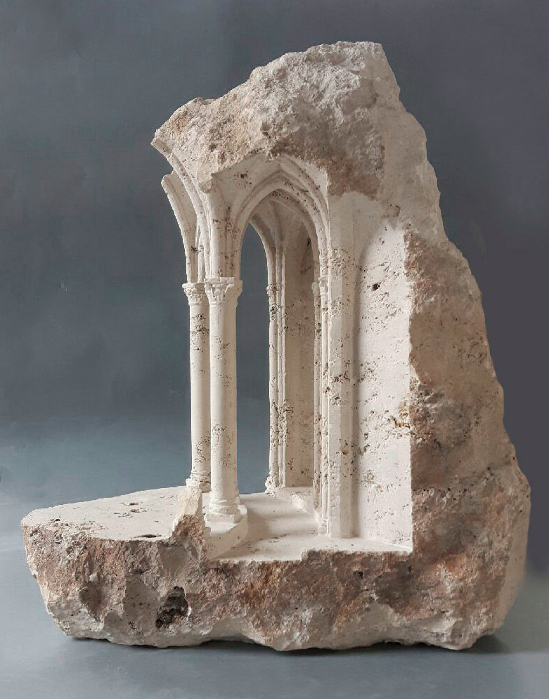mini classical architecture carved into raw chunks of marble limestone matthew simmonds 2 Small Scale Classical Architecture Carved Into Chunks of Raw Marble and Limestone