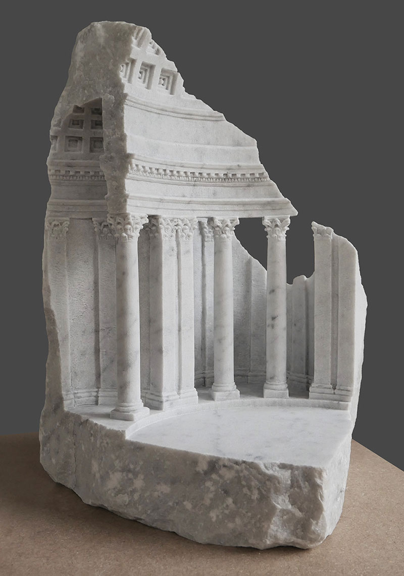 mini classical architecture carved into raw chunks of marble limestone matthew simmonds 8 Small Scale Classical Architecture Carved Into Chunks of Raw Marble and Limestone