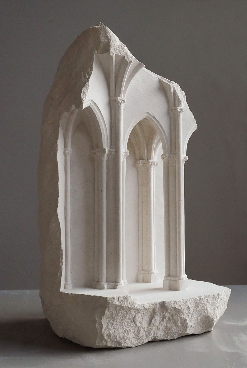 mini classical architecture carved into raw chunks of marble limestone matthew simmonds 9 Small Scale Classical Architecture Carved Into Chunks of Raw Marble and Limestone