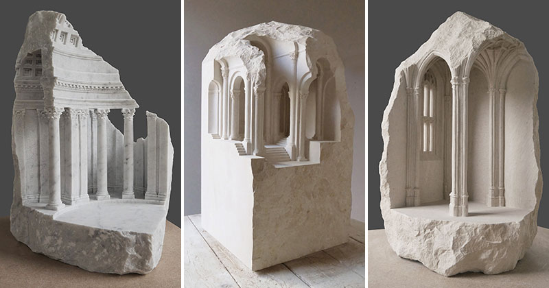 mini classical architecture carved into raw chunks of marble limestone matthew simmonds cover Small Scale Classical Architecture Carved Into Chunks of Raw Marble and Limestone