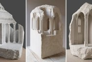 Small Scale Classical Architecture Carved Into Chunks of Raw Marble and Limestone