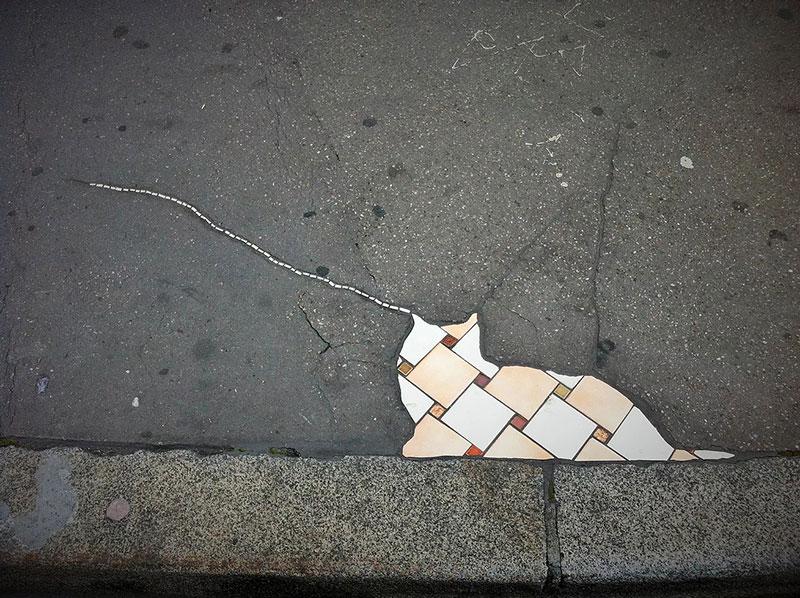 pavement surgeon ememem mosaic tile streets france 2 The Pavement Surgeon Beautifying the Damaged Sidewalks of France