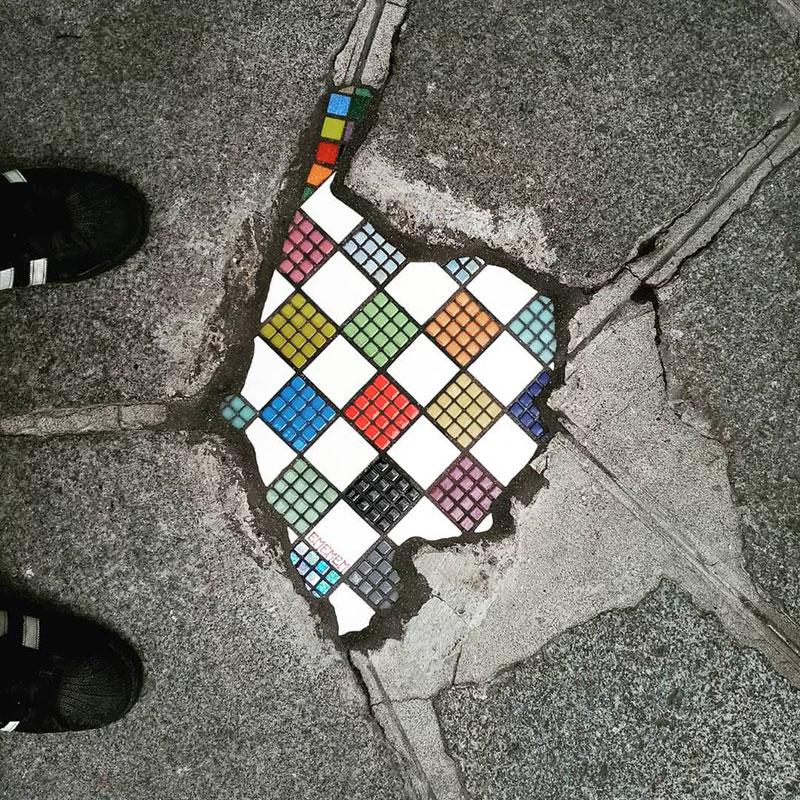 pavement surgeon ememem mosaic tile streets france 25 The Pavement Surgeon Beautifying the Damaged Sidewalks of France