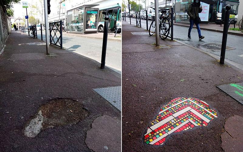 pavement surgeon ememem mosaic tile streets france 30 The Pavement Surgeon Beautifying the Damaged Sidewalks of France