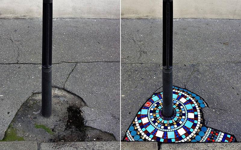 pavement surgeon ememem mosaic tile streets france 31 The Pavement Surgeon Beautifying the Damaged Sidewalks of France