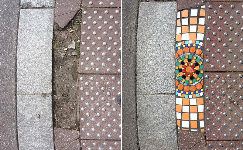 pavement surgeon ememem mosaic tile streets france 32 The Pavement Surgeon Beautifying the Damaged Sidewalks of France