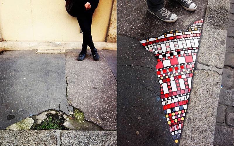 pavement surgeon ememem mosaic tile streets france 33 The Pavement Surgeon Beautifying the Damaged Sidewalks of France