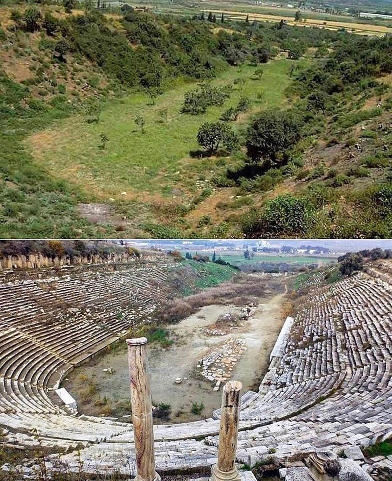 before and after excavation of greek arena in turkey An Amazing Before and After of an Ancient Greek Stadium Excavation