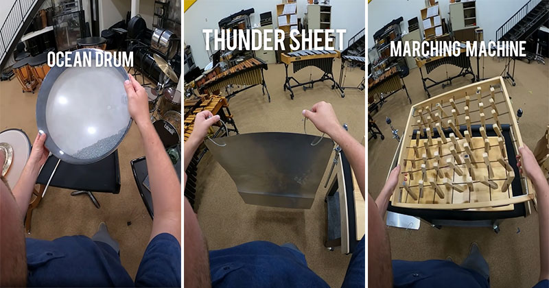 Percussionists Makes Cool Sound Effects on Multiple Instruments