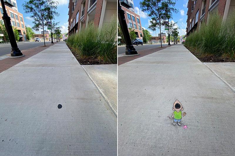 david zinn chalk art ann arbor michigan 23 David Zinn Draws Tiny Chalk Art Throughout Ann Arbor and Its the Best