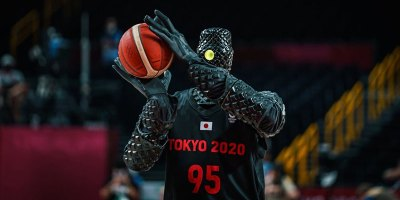 Mildly Terrifying Basketball Robot Casually Drains Half Court Shot