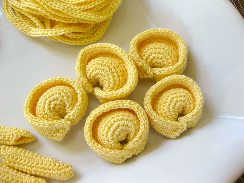 crocehted pasta by Normalynn Ablao Copacetic Crocheter 4 These Crocheted Pasta Dishes are Simply Delightful