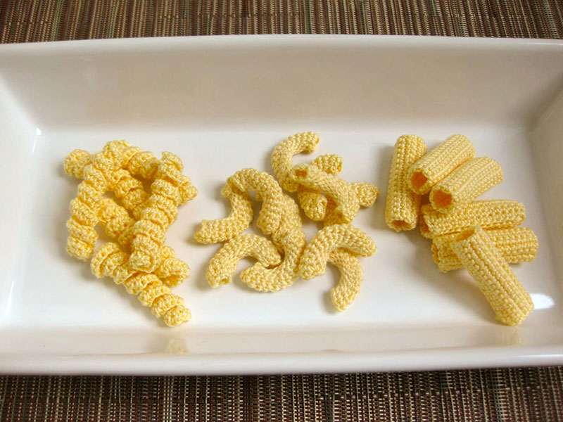 crocehted pasta by Normalynn Ablao Copacetic Crocheter 7 These Crocheted Pasta Dishes are Simply Delightful